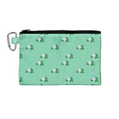 Pink Flowers Green Big Canvas Cosmetic Bag (medium)