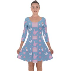 Baby Pattern Quarter Sleeve Skater Dress
