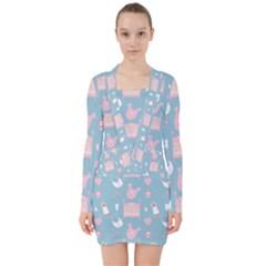 Baby Pattern V Neck Bodycon Long Sleeve Dress