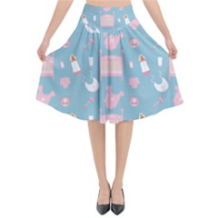 Baby Pattern Flared Midi Skirt
