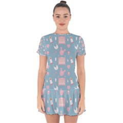 Baby Pattern Drop Hem Mini Chiffon Dress