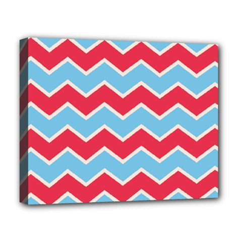 Zigzag Chevron Pattern Blue Red Deluxe Canvas 20  X 16   by vintage2030