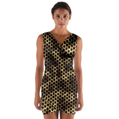 Honeycomb Beehive Nature Wrap Front Bodycon Dress