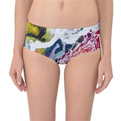 Abstract Art Detail Painting Mid Waist Bikini Bottoms