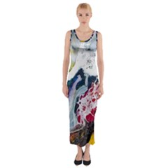 Abstract Art Detail Painting Fitted Maxi Dress
