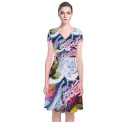 Abstract Art Detail Painting Short Sleeve Front Wrap Dress