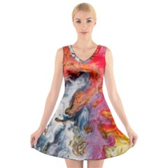 Art Abstract Macro V Neck Sleeveless Skater Dress