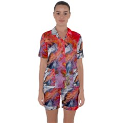 Art Abstract Macro Satin Short Sleeve Pyjamas Set