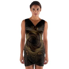 Beads Fractal Abstract Pattern Wrap Front Bodycon Dress