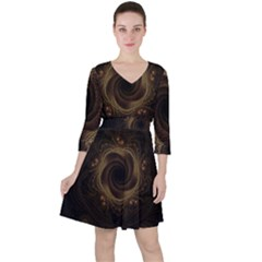 Beads Fractal Abstract Pattern Ruffle Dress
