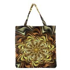 Fractal Flower Petals Gold Grocery Tote Bag