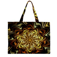 Fractal Flower Petals Gold Zipper Mini Tote Bag