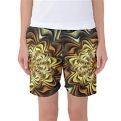 Fractal Flower Petals Gold Women s Basketball Shorts