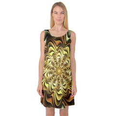 Fractal Flower Petals Gold Sleeveless Satin Nightdress