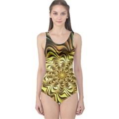 Fractal Flower Petals Gold One Piece Swimsuit