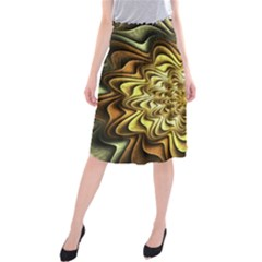 Fractal Flower Petals Gold Midi Beach Skirt