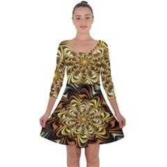 Fractal Flower Petals Gold Quarter Sleeve Skater Dress