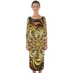 Fractal Flower Petals Gold Quarter Sleeve Midi Bodycon Dress