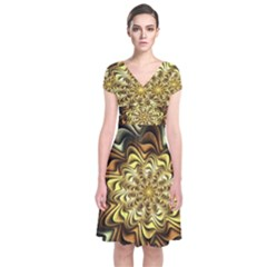 Fractal Flower Petals Gold Short Sleeve Front Wrap Dress