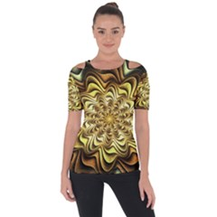 Fractal Flower Petals Gold Short Sleeve Top