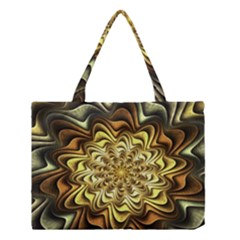 Fractal Flower Petals Gold Medium Tote Bag