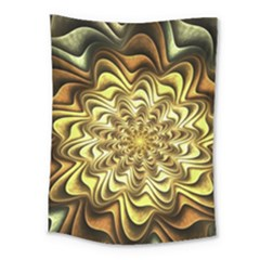 Fractal Flower Petals Gold Medium Tapestry