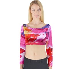 Abstract Art Background Paint Long Sleeve Crop Top