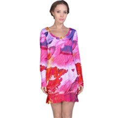 Abstract Art Background Paint Long Sleeve Nightdress
