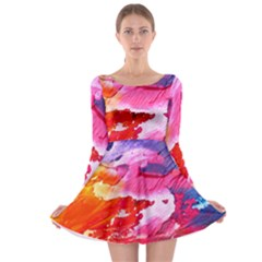 Abstract Art Background Paint Long Sleeve Skater Dress