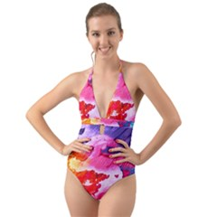 Abstract Art Background Paint Halter Cut Out One Piece Swimsuit
