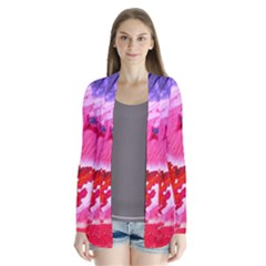 Abstract Art Background Paint Drape Collar Cardigan