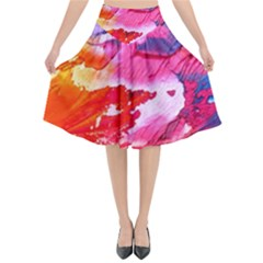 Abstract Art Background Paint Flared Midi Skirt