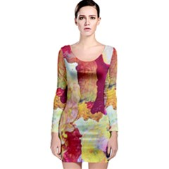 Art Detail Abstract Painting Wax Long Sleeve Bodycon Dress