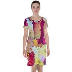 Art Detail Abstract Painting Wax Short Sleeve Nightdress