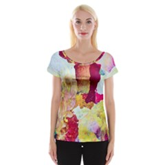 Art Detail Abstract Painting Wax Cap Sleeve Tops