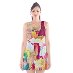 Art Detail Abstract Painting Wax Scoop Neck Skater Dress