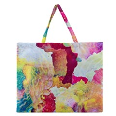 Art Detail Abstract Painting Wax Zipper Large Tote Bag