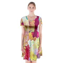 Art Detail Abstract Painting Wax Short Sleeve V Neck Flare Dress