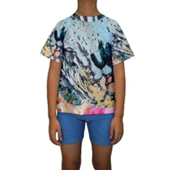 Abstract Structure Background Wax Kids  Short Sleeve Swimwear