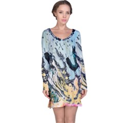Abstract Structure Background Wax Long Sleeve Nightdress