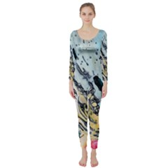 Abstract Structure Background Wax Long Sleeve Catsuit