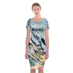 Abstract Structure Background Wax Classic Short Sleeve Midi Dress