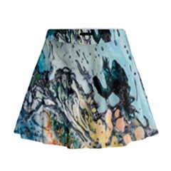 Abstract Structure Background Wax Mini Flare Skirt