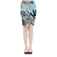 Abstract Structure Background Wax Midi Wrap Pencil Skirt