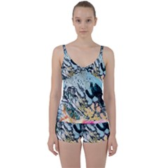Abstract Structure Background Wax Tie Front Two Piece Tankini