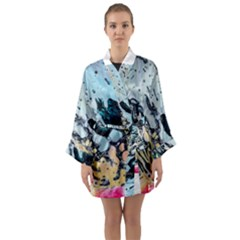 Abstract Structure Background Wax Long Sleeve Kimono Robe
