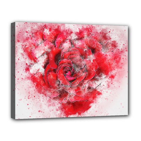 Flower Roses Heart Art Abstract Canvas 14  X 11
