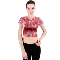 Flower Roses Heart Art Abstract Crew Neck Crop Top