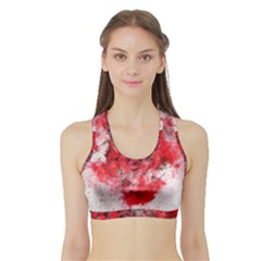 Flower Roses Heart Art Abstract Sports Bra With Border