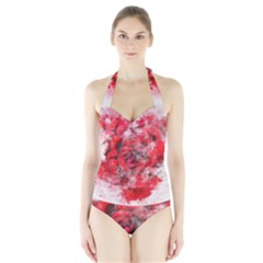 Flower Roses Heart Art Abstract Halter Swimsuit